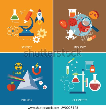 science concept ,physics ,chemistry,biology flat design - stock vector