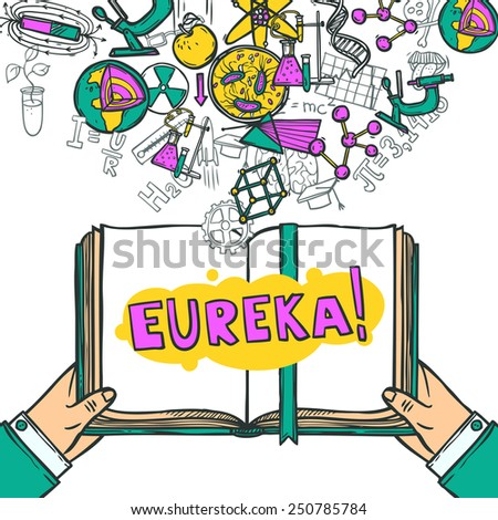 Science concept with hand holding book and education icons sketch vector illustration - stock vector