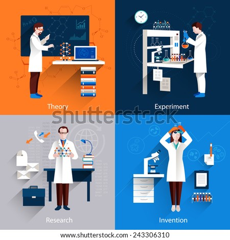 Science design concept set with theory experiment research invention icons set isolated vector illustration - stock vector
