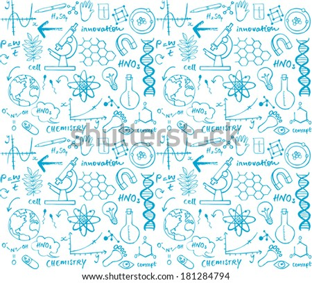Science doodle seamless background - stock vector