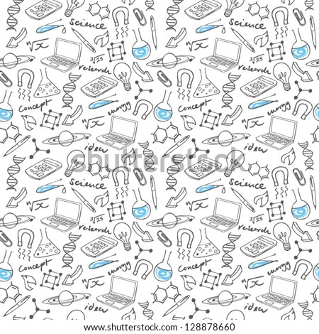 Science doodles seamless background - stock vector