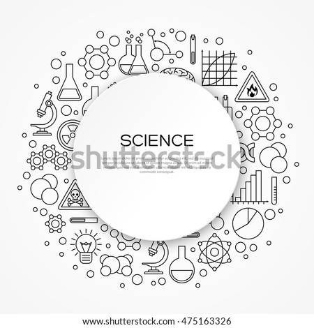 Science Education Background Round Frame Linear Stock Photo (Photo ...