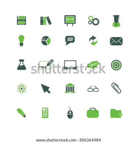science, education icons, signs, illustrations  - stock vector