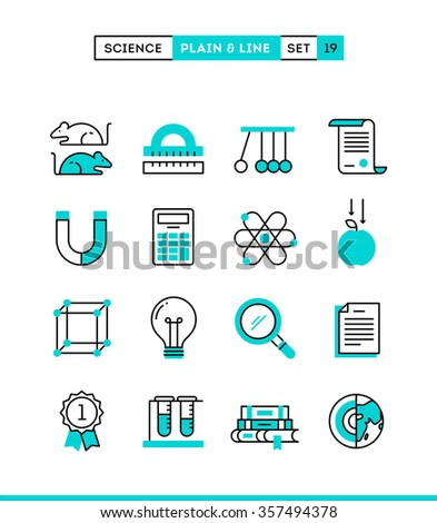 Science, experiments, laboratory, studies and more. Plain and line icons set, flat design, vector illustration