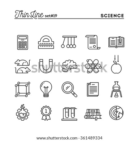 Science, experiments, laboratory, studies and more, thin line icons set, vector illustration - stock vector