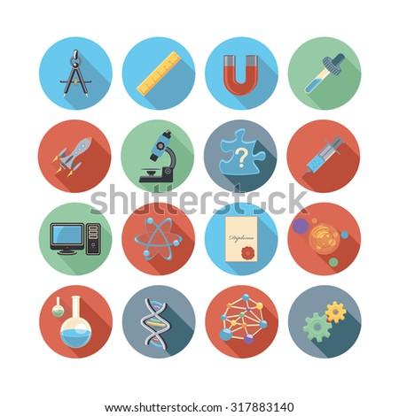 science flat circle icon set - stock vector