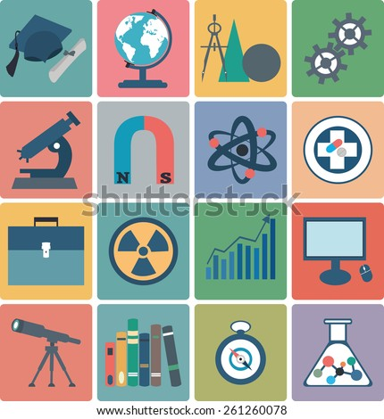 Science flat vector icons - stock vector