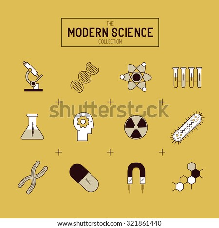 Science Gold Vector Icon Set. A collection of gold science themed line icons including a atom, chemistry symbols and equipment. Layered Vector illustration. - stock vector