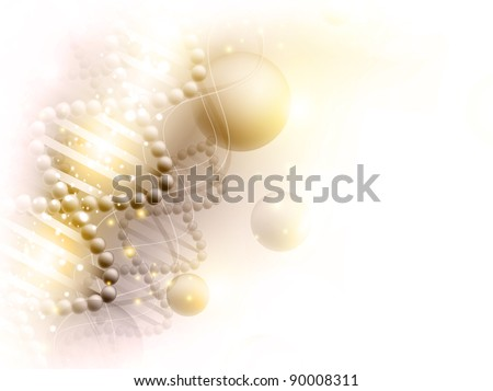 science golden background with DNA theme and copyspace for your text - stock vector