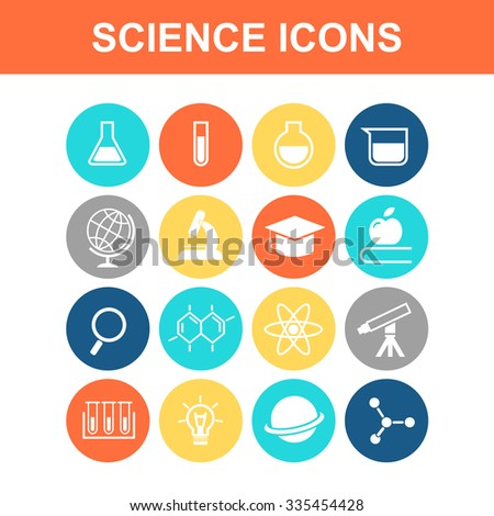 Science icon set - Flat Series - stock vector