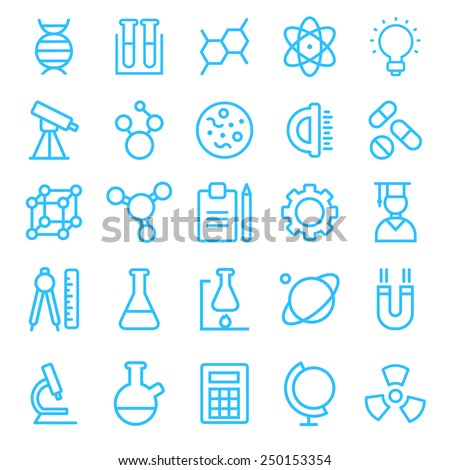 Science icon set for your products and projects, easy to edit, re-size and colorize. vector - stock vector