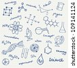 Science icons doodles vector set - stock photo