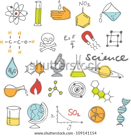 Science icons doodles vector set - stock vector
