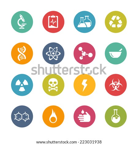 Science Icons // Fresh Colors Series ++ Icons and buttons in different layers, easy to change colors ++ - stock vector