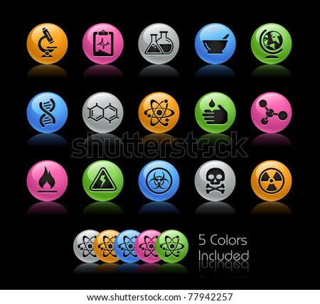 Science Icons // Gelcolor Series -------It includes 5 color versions for each icon in different layers --------- - stock vector