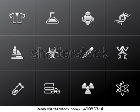 Science icons in metallic style