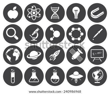 Science icons (modern flat design) - stock vector