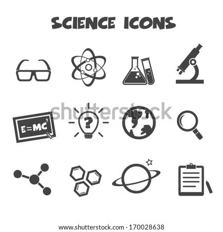 science icons, mono vector symbols - stock vector