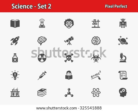 Science Icons. Professional, pixel perfect icons optimized for both large and small resolutions. EPS 8 format. - stock vector