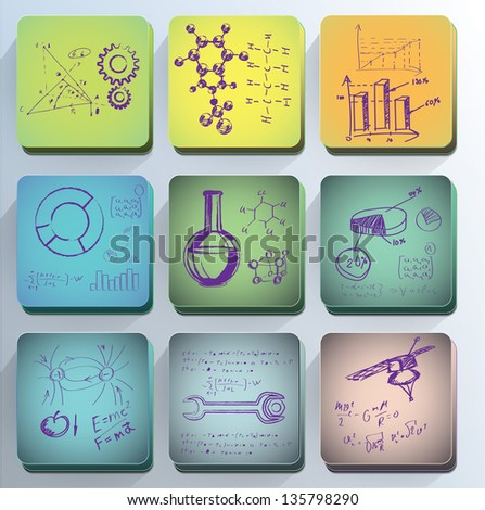 Science icons. Set of the scientific symbols drawn by a chalk.