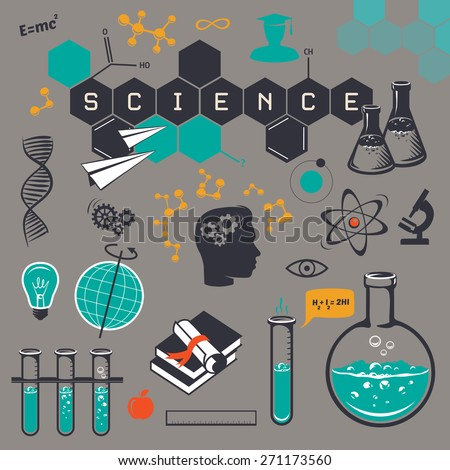 Science icons set, on a gray background. Vector illustration - stock vector