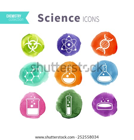 Science icons set on watercolor varicolored spots. Vector illustration. - stock vector