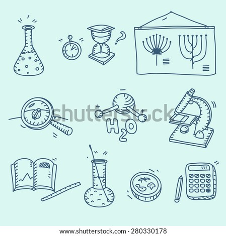 Science icons set school laboratory chemistry biology experiment investigation and observation hand drawn doodle sketch style. - stock vector
