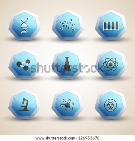 Science icons set. Vector Illustration, eps10, contains transparencies. - stock vector