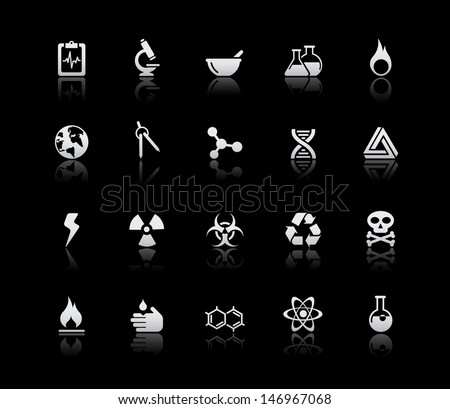 Science Icons // Silver Series  - stock vector