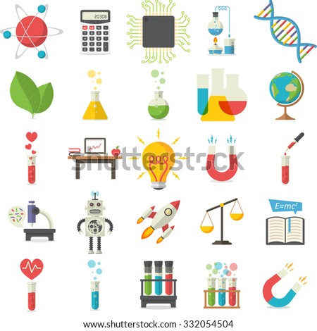 Science, Illustration series, Flat style, isolated on white background