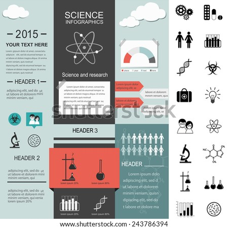 Science info graphic template and a set of icons. - stock vector