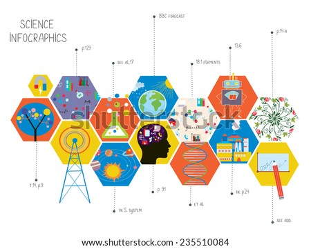 Science infographics of different areas - presentation or cover illustration - stock vector