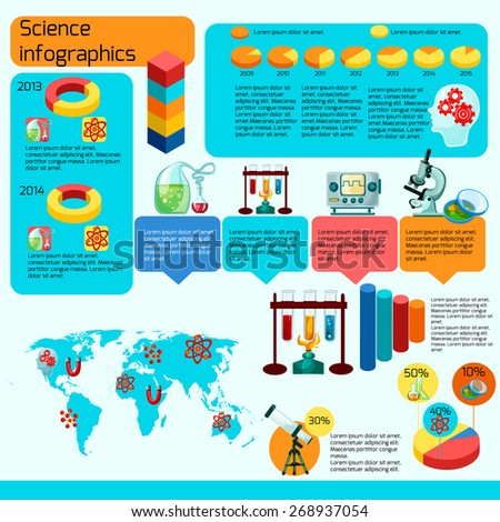 Science infographics set with laboratory research symbols and charts vector illustration