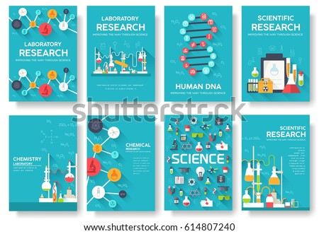 Biohazard Chemists Brochure Cards Set Chemistry Stock Vector