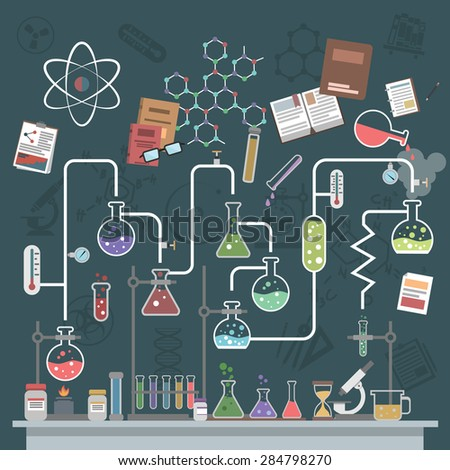 Science lab concept with flat flasks and physics symbols vector illustration - stock vector