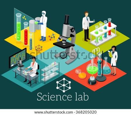 Science lab isometric design flat. Science and scientist, science laboratory, lab chemistry, research scientific, microscope and experiment, chemical lab science test, technology illustration - stock vector