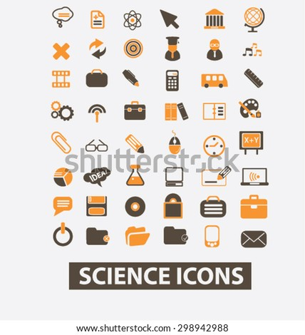 science, lab, scientist isolated signs, icons vector set for web, application, design. - stock vector