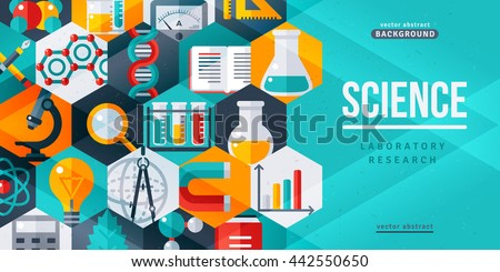 Science laboratory research creative banner. Vector illustration. Flat design scientific icons in hexagons. Concept for web banners and promotional materials - stock vector