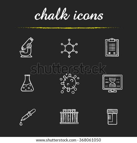 Science laboratory tools chalk icons set. Research biological lab equipment. Scientific, pharmaceutical and medical lab items. White illustrations on blackboard. Vector chalkboard logo concepts - stock vector