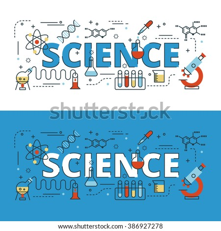 Science lettering flat line design with icons and elements for book cover, report header, presentation,illustration, infographics, printing, website banner and landing page.