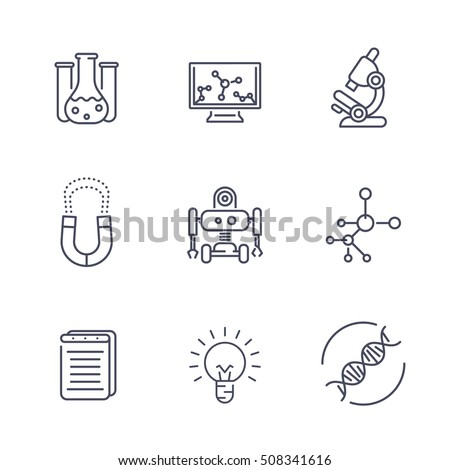Science Line Icons Isolated On White 508341616