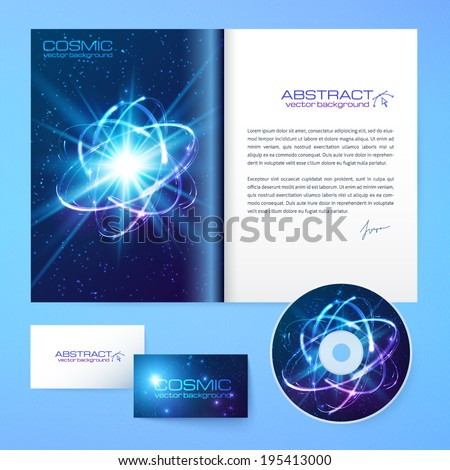 Science magazine, disc and card vector templates set - stock vector