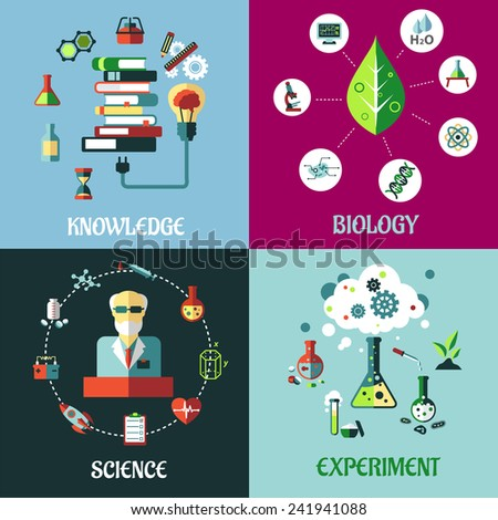 Science, medicine and physics concepts in flat style with flasks, test tubes, microscope, dna, atoms, knowledge,  books, medical and equipment icons - stock vector