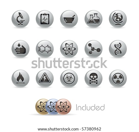 Science // Metal Round Series --- It includes 4 color versions for each icon in different layers.--- - stock vector