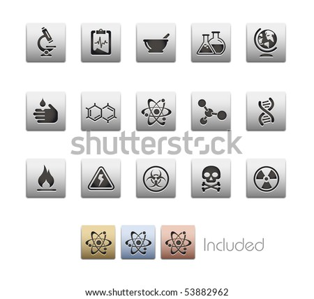 Science // Metallic Series - It includes 4 color versions for each icon in a different layer. - stock vector