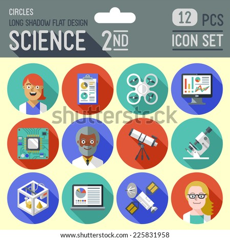 Science 2nd circles icon set. Flat design long shadow. Vector illustration. - stock vector