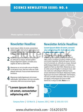 Science newsletter with honeycomb plus quote, and numbered list - stock vector