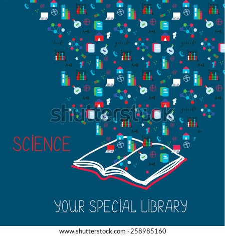 Science placard with book and information symbols - illustration - stock vector