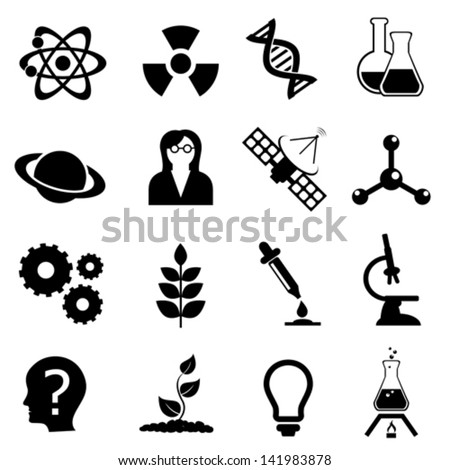Science related, biology, physics and chemistry icon set - stock vector