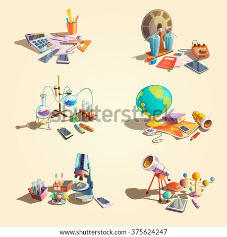 Science retro concept set with cartoon education objects isolated vector illustration - stock vector